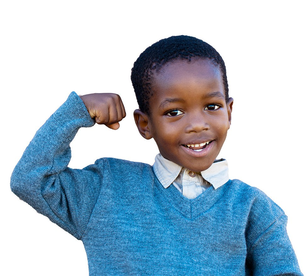 smiling young man flexing his bicep muscle