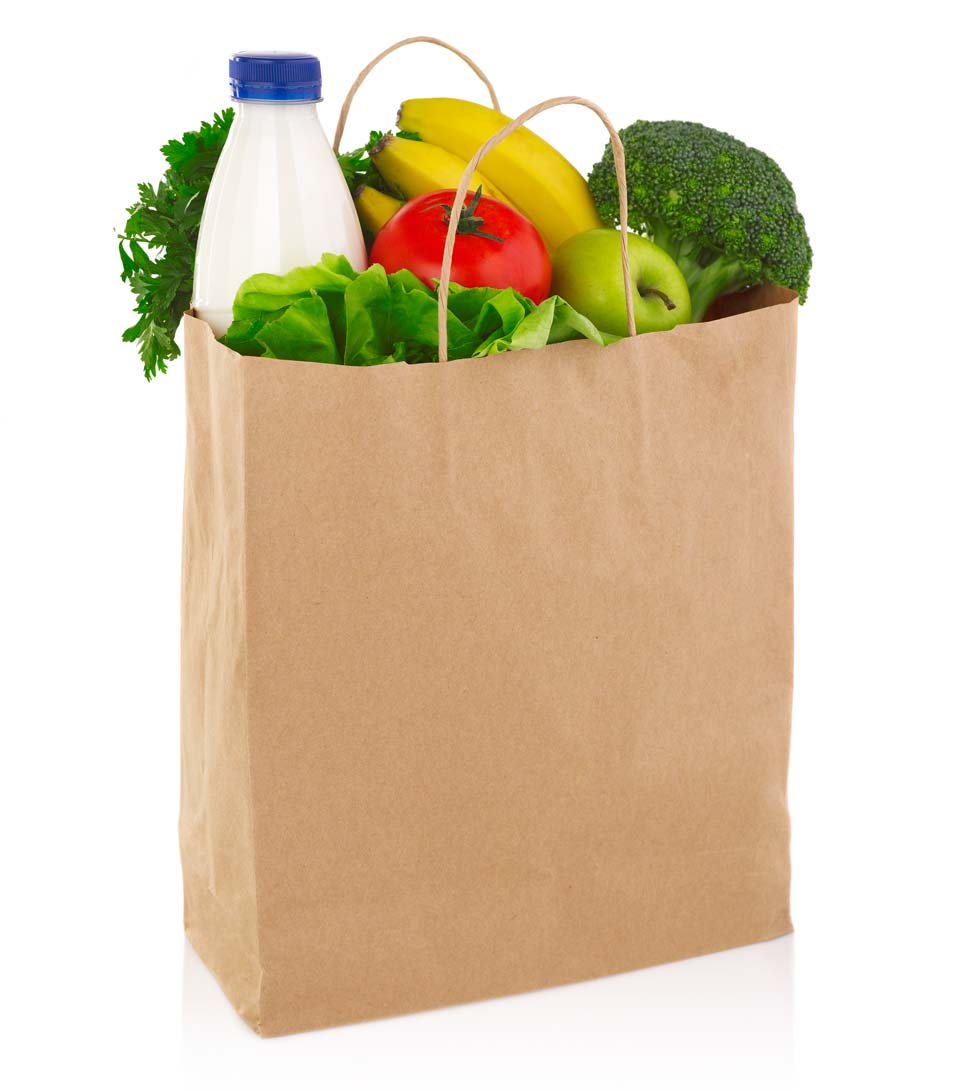 brown paper grocery bag full of produce